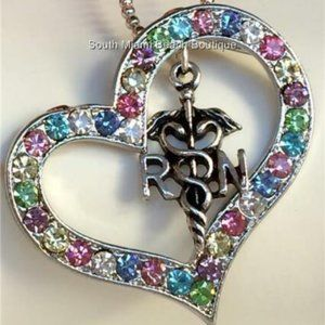 Jewelry - Silver RN Caduceus Crystal Nursing Necklace Heart